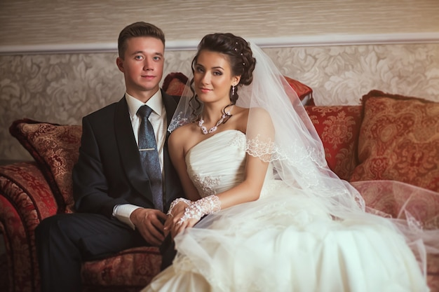 Retrato de um casal lindo casamento. casamento bonito.