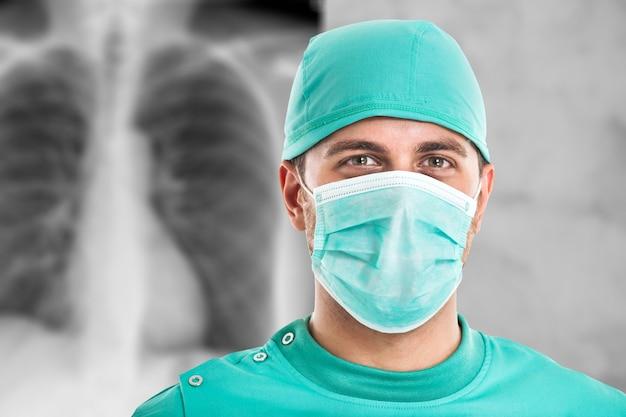 Retrato, de, um, cirurgião, frente, um, radiografia