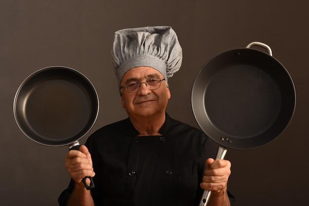 Retrato, de, um, cozinheiro sênior