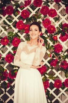 Retrato, de, um, cute, noiva, em, um, vestido casamento