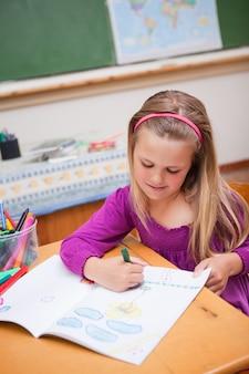 Retrato, de, um, cute, schoolgirl, desenho