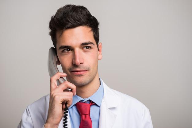 Retrato, de, um, doutor, conversa telefone