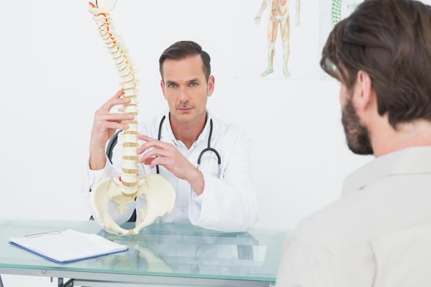 Retrato, de, um, doutor, explicando, a, espinha, para, um, paciente