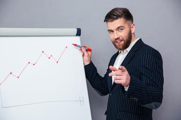 Retrato de um empresário feliz apresentando algo a bordo sobre uma parede cinza