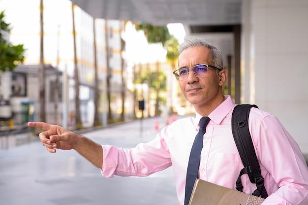 Retrato de um empresário persa bonito com cabelos grisalhos do lado de fora de um edifício moderno na cidade