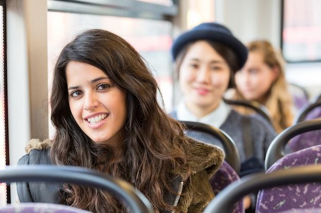 Retrato, de, um, espanhol, mulher, ligado, um, autocarro