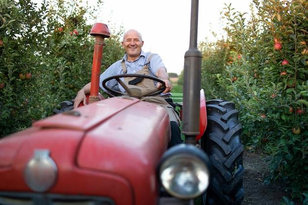Retrato de um fazendeiro sênior dirigindo sua velha máquina de trator em estilo retrô através de um pomar de maçã