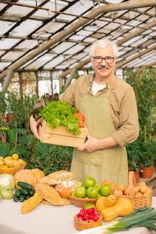 Retrato de um fazendeiro sênior sorridente com bigode segurando uma caixa de legumes frescos em estufa