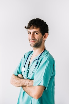 Retrato, de, um, feliz, doutor masculino, branco, fundo
