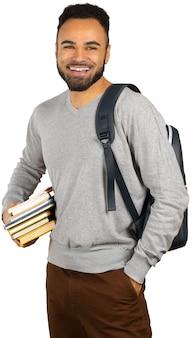 Retrato, de, um, feliz, jovem, africano, macho, estudante