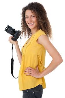 Retrato, de, um, femininas, fotógrafo