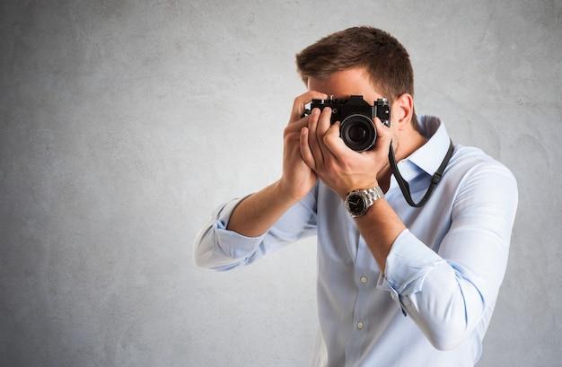 Retrato, de, um, fotógrafo, no trabalho
