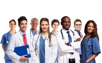 Retrato, de, um, grupo, de, sorrindo, doutores