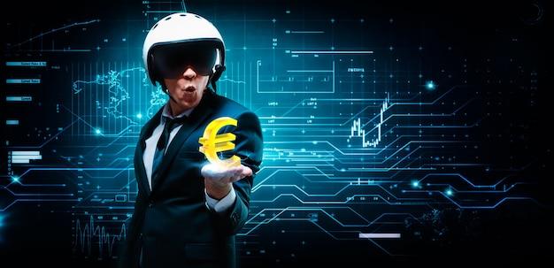 Retrato de um homem de terno e capacete. ele colocou uma palma na qual uma carga elétrica e um símbolo do euro. conceito de negócios. mercado de ações. corretores e comerciantes.