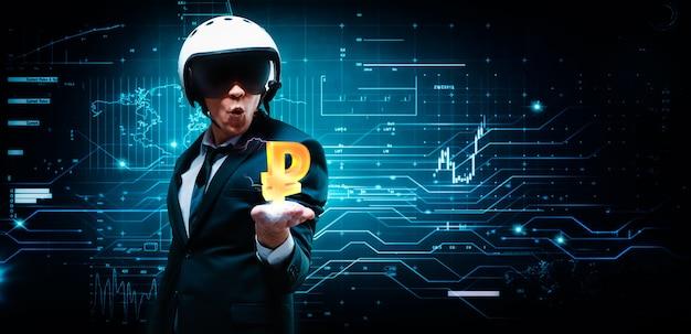 Retrato de um homem de terno e capacete. ele colocou uma palma na qual uma carga elétrica e um sinal de rublo. conceito de negócios. mercado de ações. corretores e comerciantes.