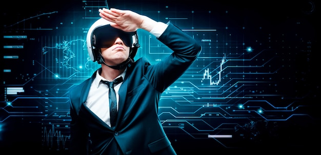 Retrato de um homem de terno e capacete. ele perscruta a distância contra o pano de fundo de um holograma futurista