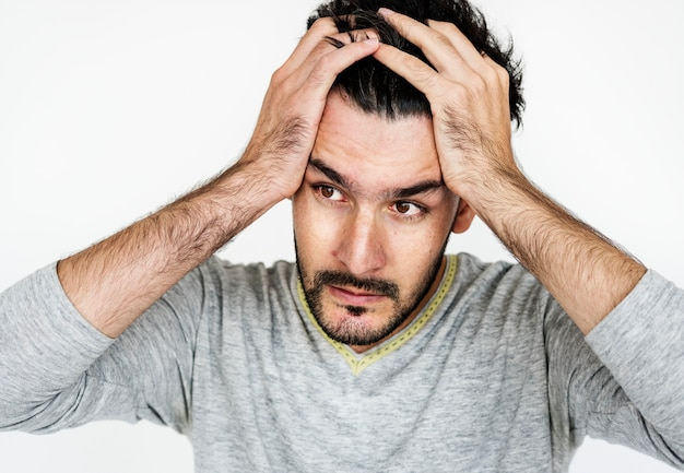 Retrato, de, um, homem estressado