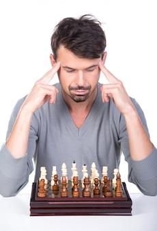 Retrato, de, um, homem jovem, com, um, xadrez