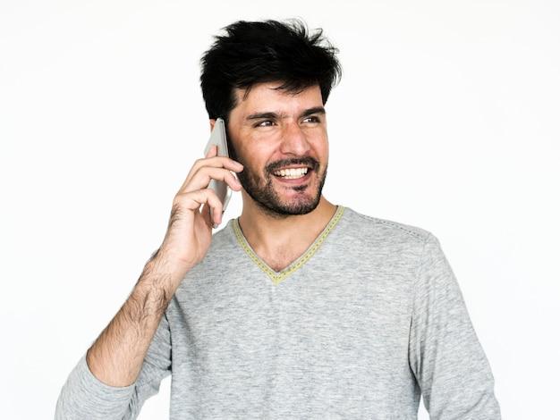 Retrato, de, um, homem, usando, um, telefone