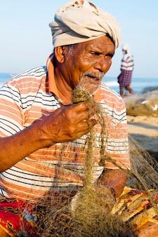 Retrato, de, um, indianas, pescador