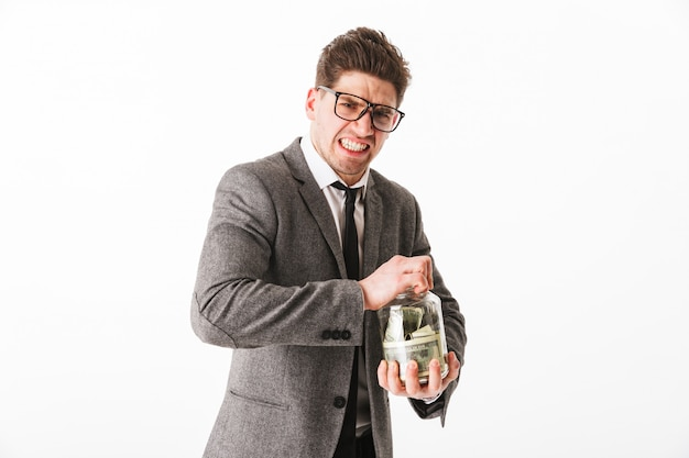 Retrato de um jovem empresário engraçado