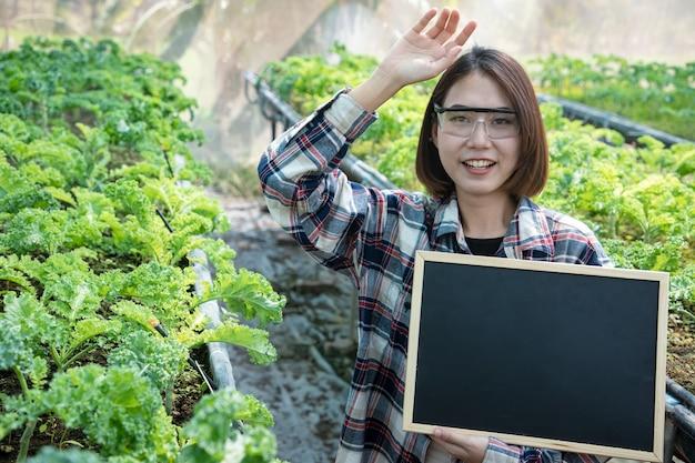 Retrato de um lindo fazendeiro segurando uma placa para escrever a textura em uma fazenda orgânica examinando a colheita da manhã