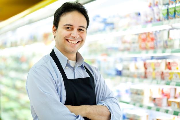 Retrato, de, um, lojista, em, seu, loja