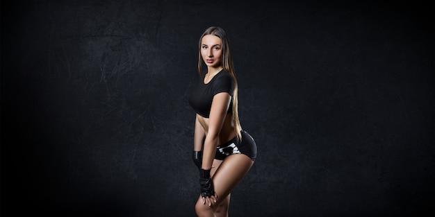 Retrato, de, um, menina, fazendo, esportes, bonito, corporal