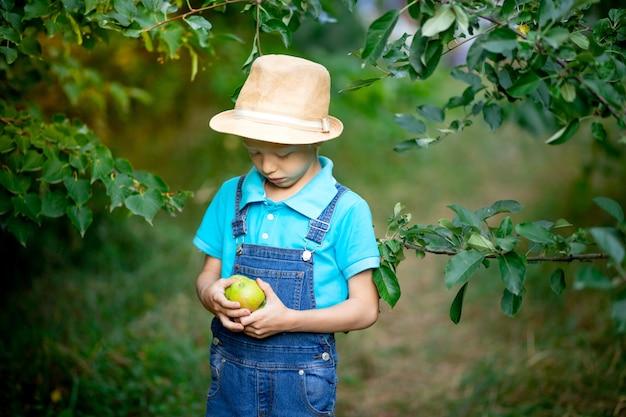 Retrato de um menino bravo de seis anos com roupas azuis e chapéu em um jardim com macieiras
