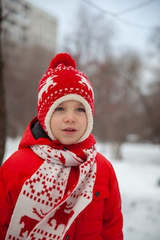 Retrato de um menino com roupas de inverno