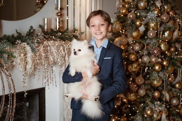 Retrato de um menino de terno segurando um cachorrinho fofo em um quarto perto de uma árvore de natal