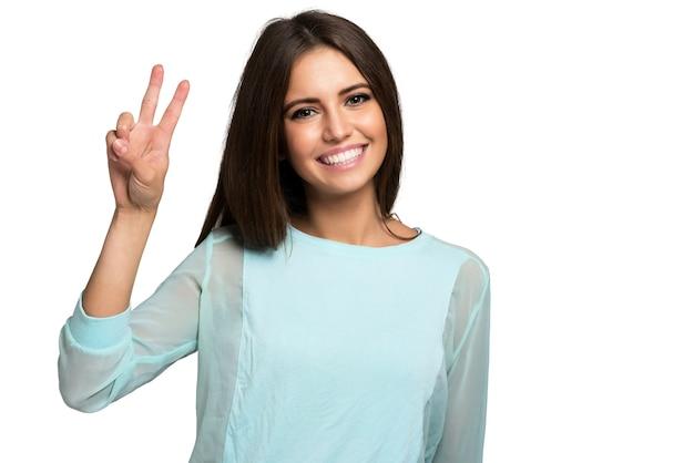 Retrato, de, um, muito, feliz, mulher jovem