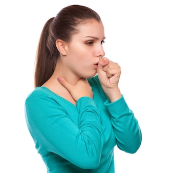 Retrato, de, um, mulher jovem, tossir, com, punho