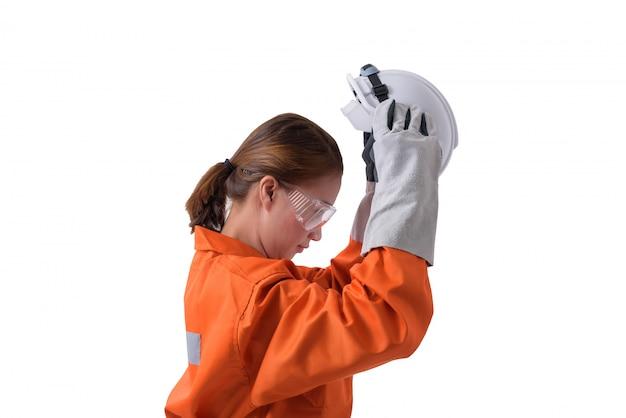 Retrato, de, um, mulher, trabalhador, em, mecânico, macacão