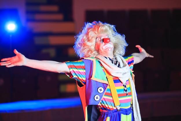 Retrato de um palhaço na arena de circo.