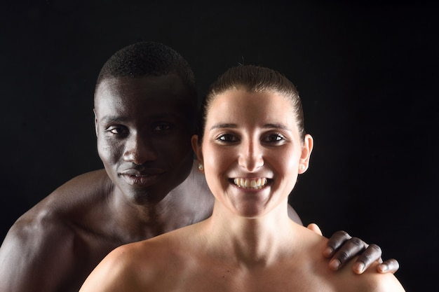 Retrato, de, um, par, ligado, experiência preta