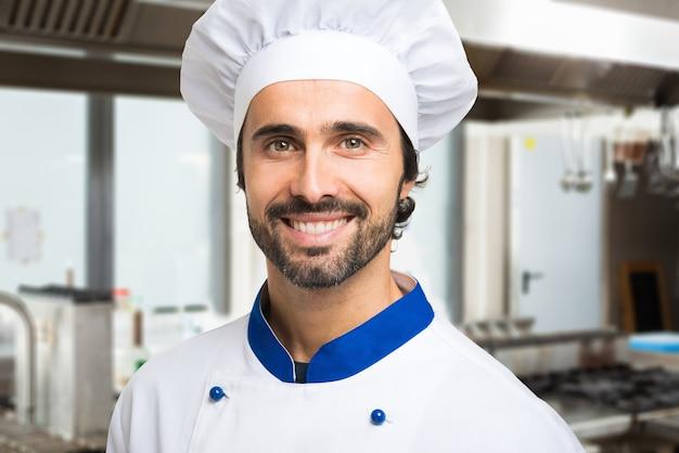 Retrato, de, um, sorrindo, cozinheiro, em, seu, cozinha