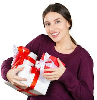 Retrato, de, um, sorrindo, cute, mulher, e, caixa presente
