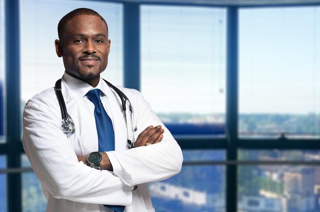 Retrato, de, um, sorrindo, doutor