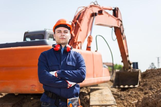 Retrato, de, um, trabalhador, em, um, local construção
