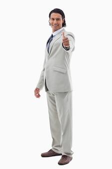 Retrato, de, um, trabalhador escritório, posar, com, a, polegar cima
