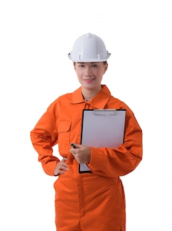 Retrato, de, um, trabalhador mulher, em, mecânico, jumpsuit, é, segurando clipboard, e, caneta