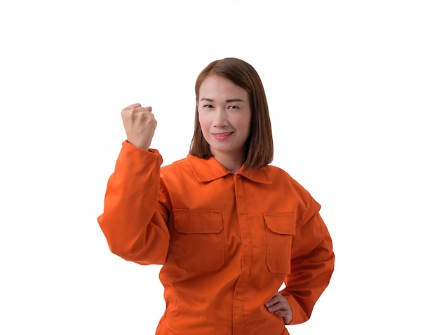 Retrato, de, um, trabalhador mulher, em, mecânico, jumpsuit, isolado, branco, fundo