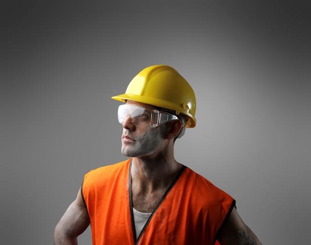 Retrato, de, um, trabalhador
