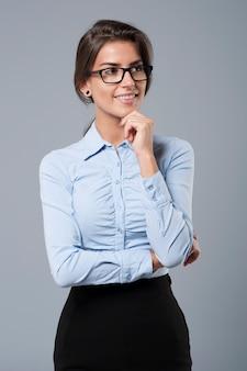 Retrato de uma bela jovem empresária