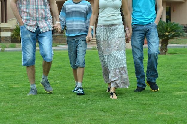 Retrato de uma família de mãos dadas ao ar livre