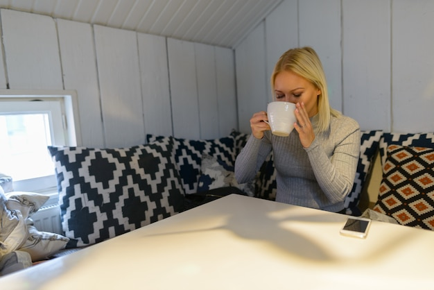 Retrato de uma jovem bela loira escandinava relaxando em casa