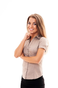 Retrato de uma jovem empresária feliz