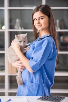 Retrato de uma jovem médica com um gato bonito fofo.