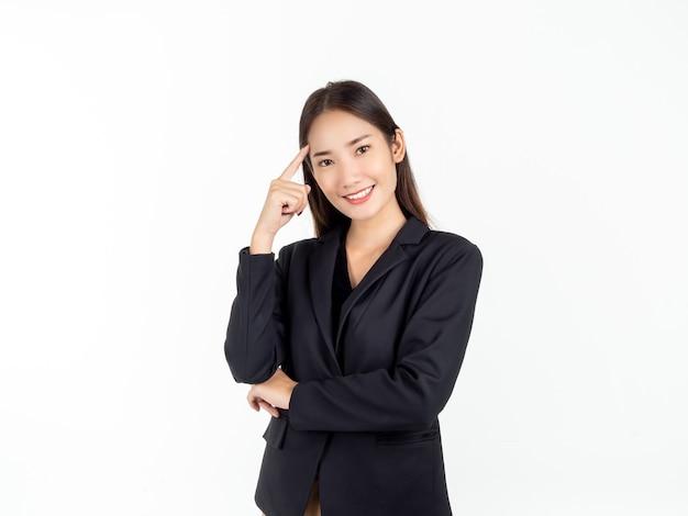 Retrato de uma jovem mulher de negócios asiática em um terno preto apontando para a cabeça com o dedo